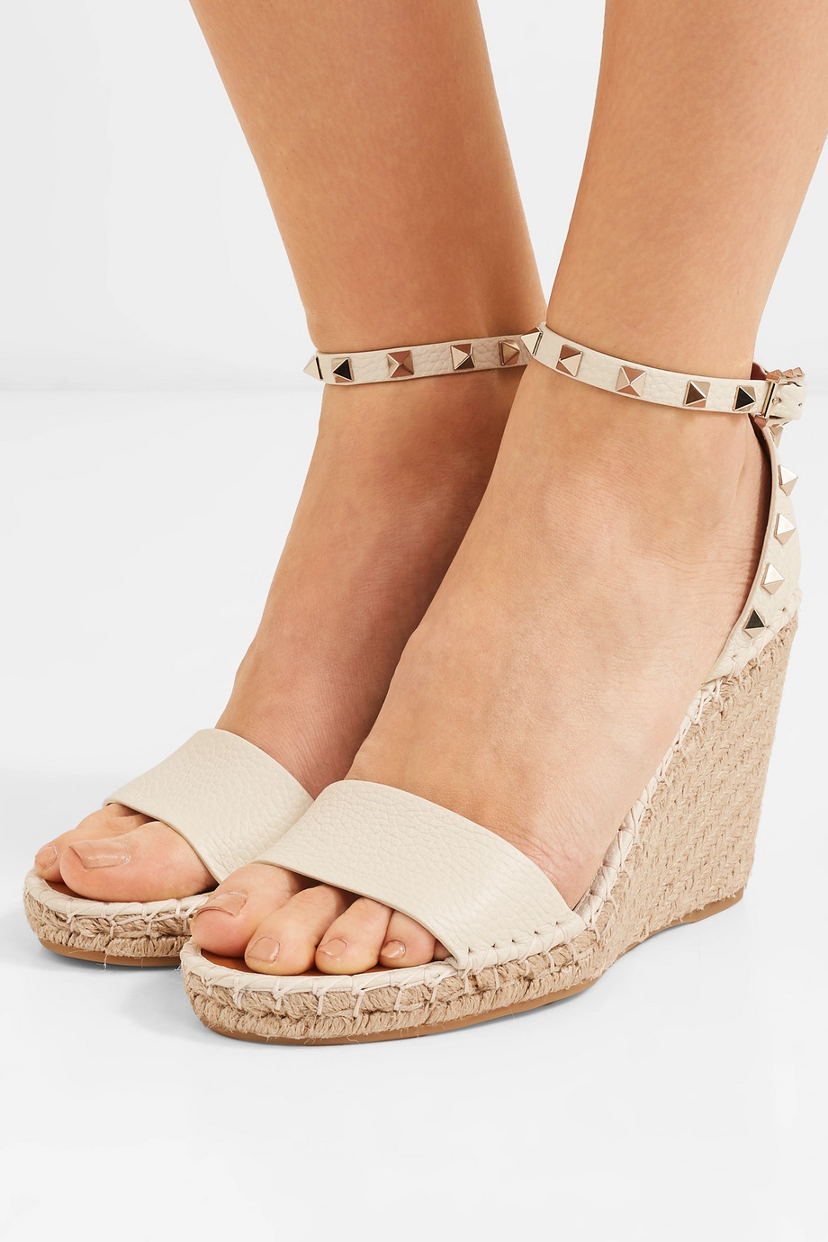 e35dab41c5 Valentino Valentino Garavani The Rockstud textured-leather espadrille wedge  sandals