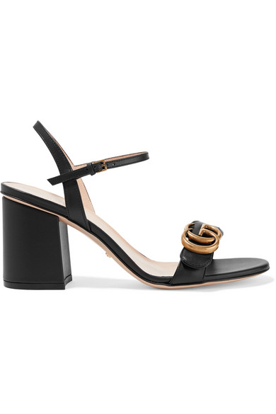 5d80761543839f Gucci Marmont Leather Gg Block-Heel Sandals, Black In 1000 Black ...