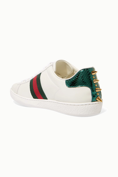 0f5265b305a Ace faux pearl-embellished metallic watersnake-trimmed leather sneakers.   670. Zoom In