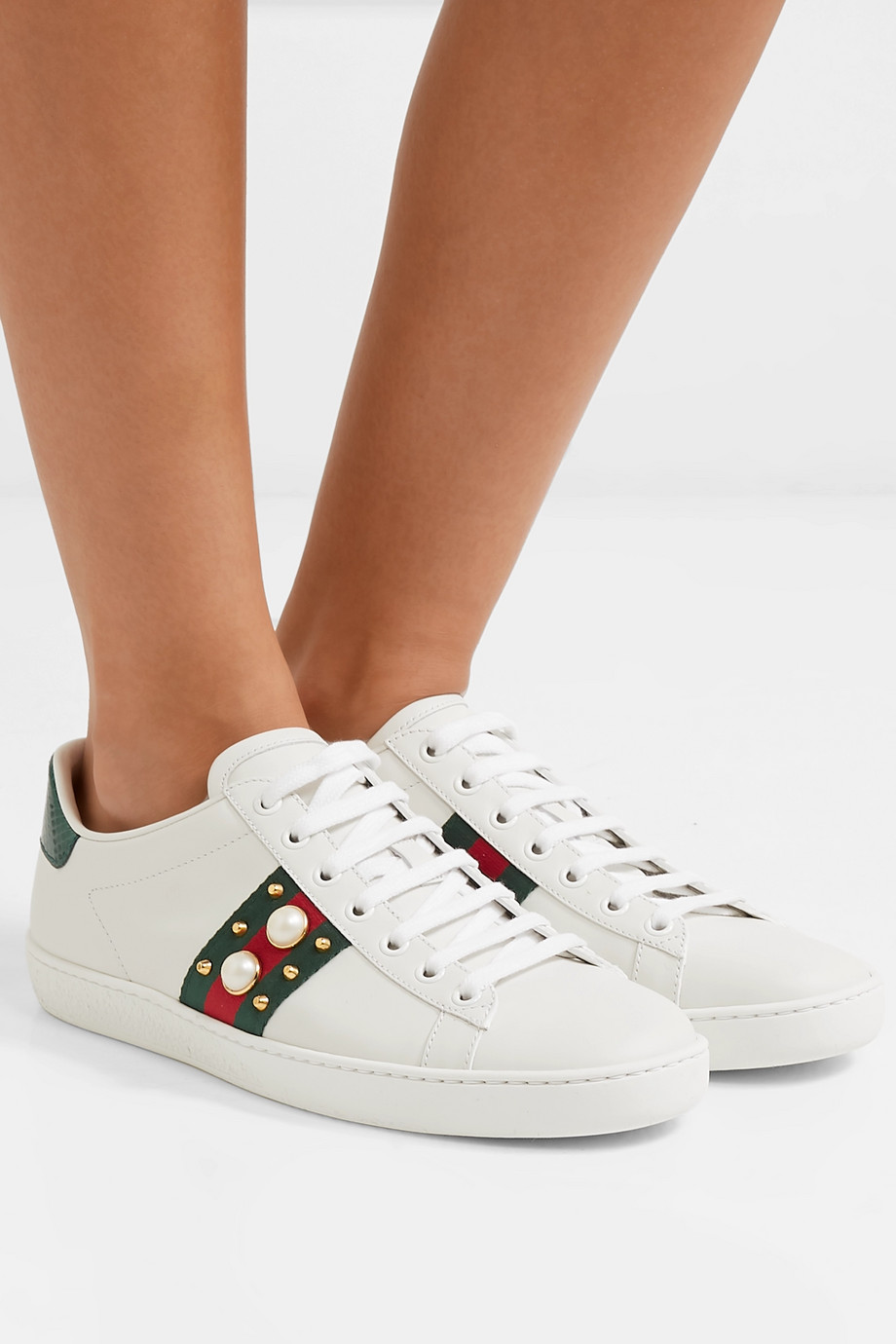 Gucci Ace faux pearl-embellished metallic watersnake-trimmed leather sneakers