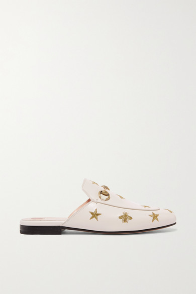 Gucci Shoes Princetown horsebit-detailed embroidered leather slippers