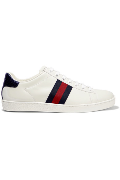 Ace Watersnake And Canvas-Trimmed Leather Sneakers in White