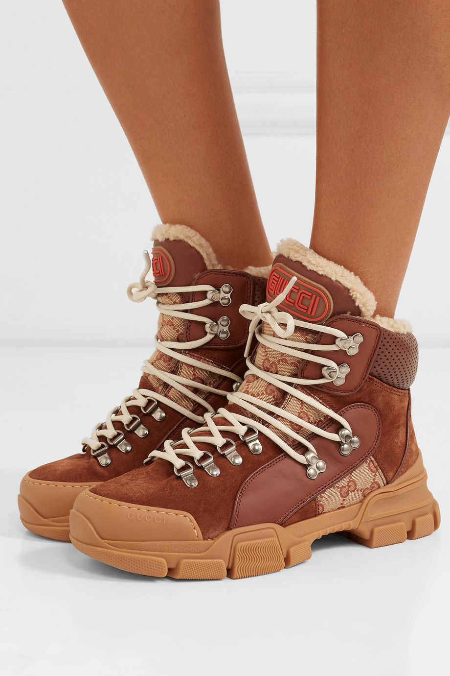 Gucci Flashtrek faux shearling-trimmed suede, leather and printed coated-canvas boots