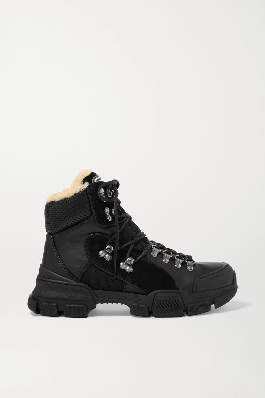 Gucci Flashtrek shearling-trimmed leather, canvas and suede boots