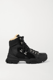 Gucci Flashtrek faux shearling-trimmed leather, canvas and suede boots