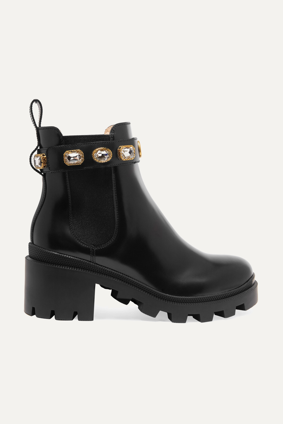 Gucci Crystal-embellished leather Chelsea boots