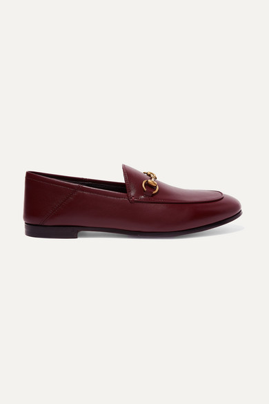 Gucci Shoes Brixton horsebit-detailed leather collapsible-heel loafers