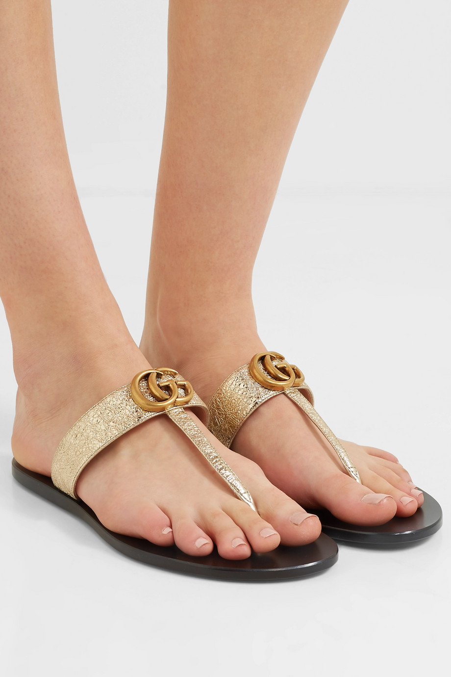 Gucci Marmont logo-embellished metallic textured-leather sandals