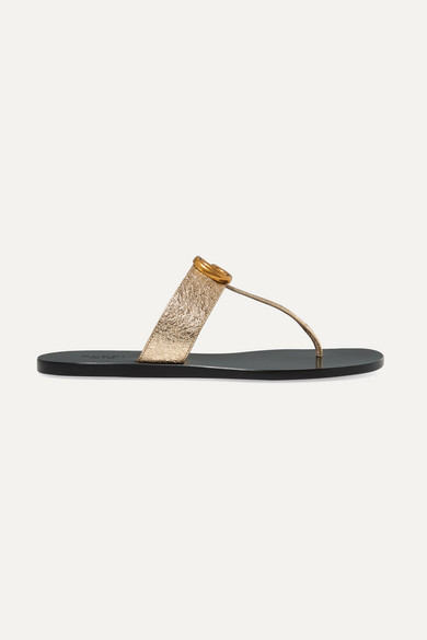 GUCCI | Gucci - Marmont Logo-embellished Metallic Textured-leather Sandals - Gold | Goxip