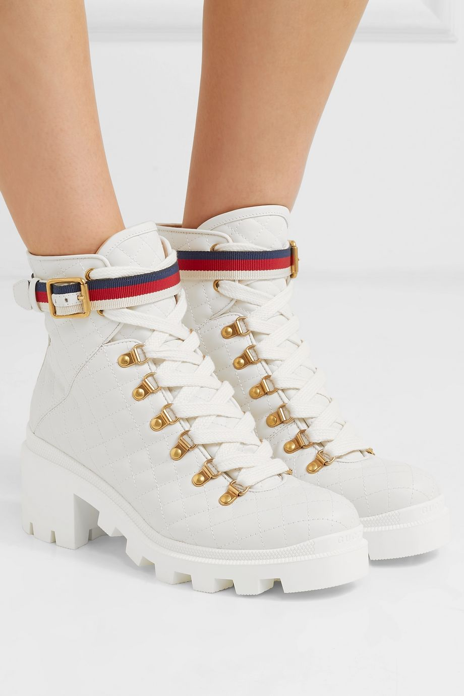 Gucci Grosgrain-trimmed quilted leather ankle boots