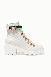 Gucci Trip grosgrain-trimmed quilted leather ankle boots
