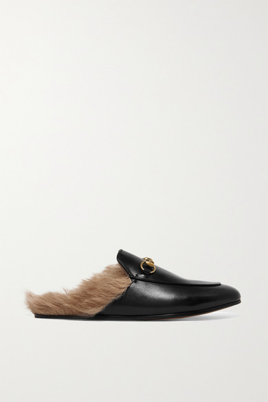 c4511e355 Gucci | Princetown horsebit-detailed shearling-lined leather slippers |  NET-A-PORTER.COM