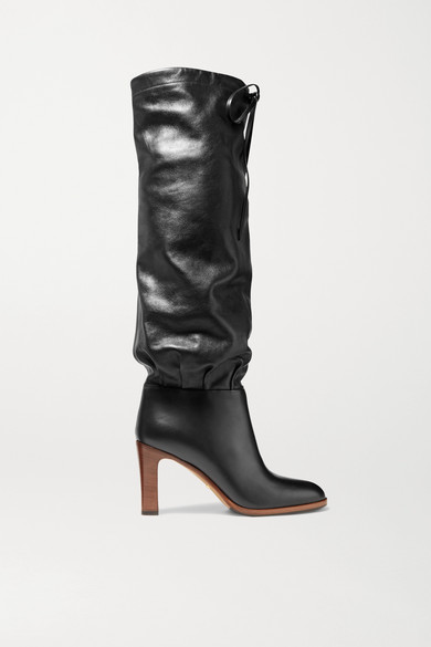 Lisa Leather Knee-High Boots in Black