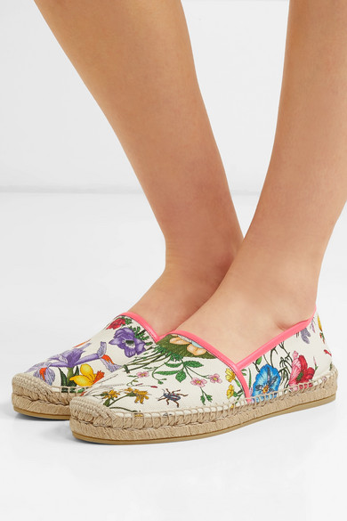 4eba7ebf996 Leather-trimmed floral-print canvas espadrilles