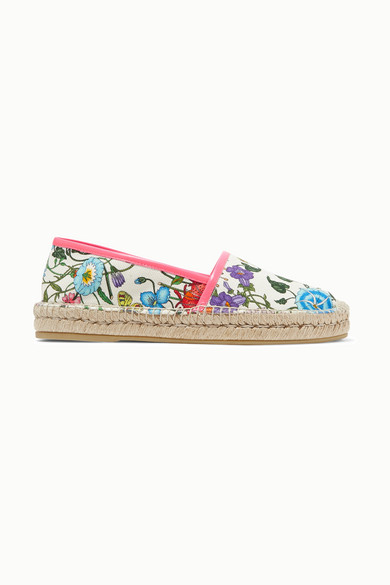 Leather Trimmed Floral Print Canvas Espadrilles by Gucci