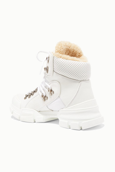 6b07021ab71 Gucci   Flashtrek faux shearling-trimmed leather, canvas and suede ...