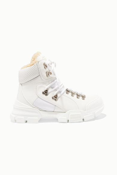 Flashtrek Faux Shearling-Trimmed Leather, Canvas And Suede Boots in White