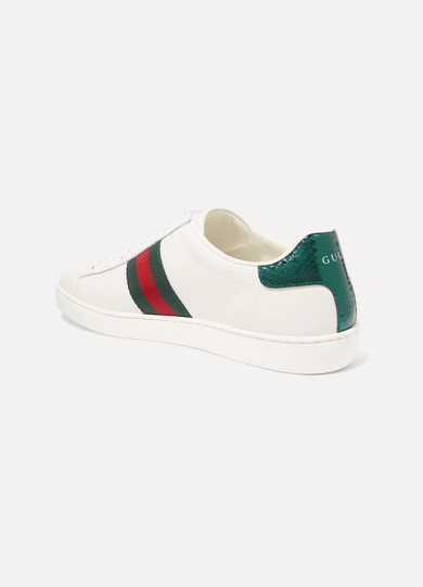 71436afe237 Gucci. Ace watersnake-trimmed crystal-embellished leather sneakers. £575.  More colors available. Zoom In