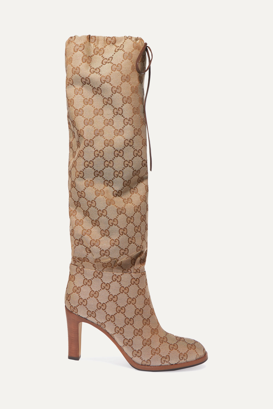 Gucci Leather-trimmed coated-canvas knee boots