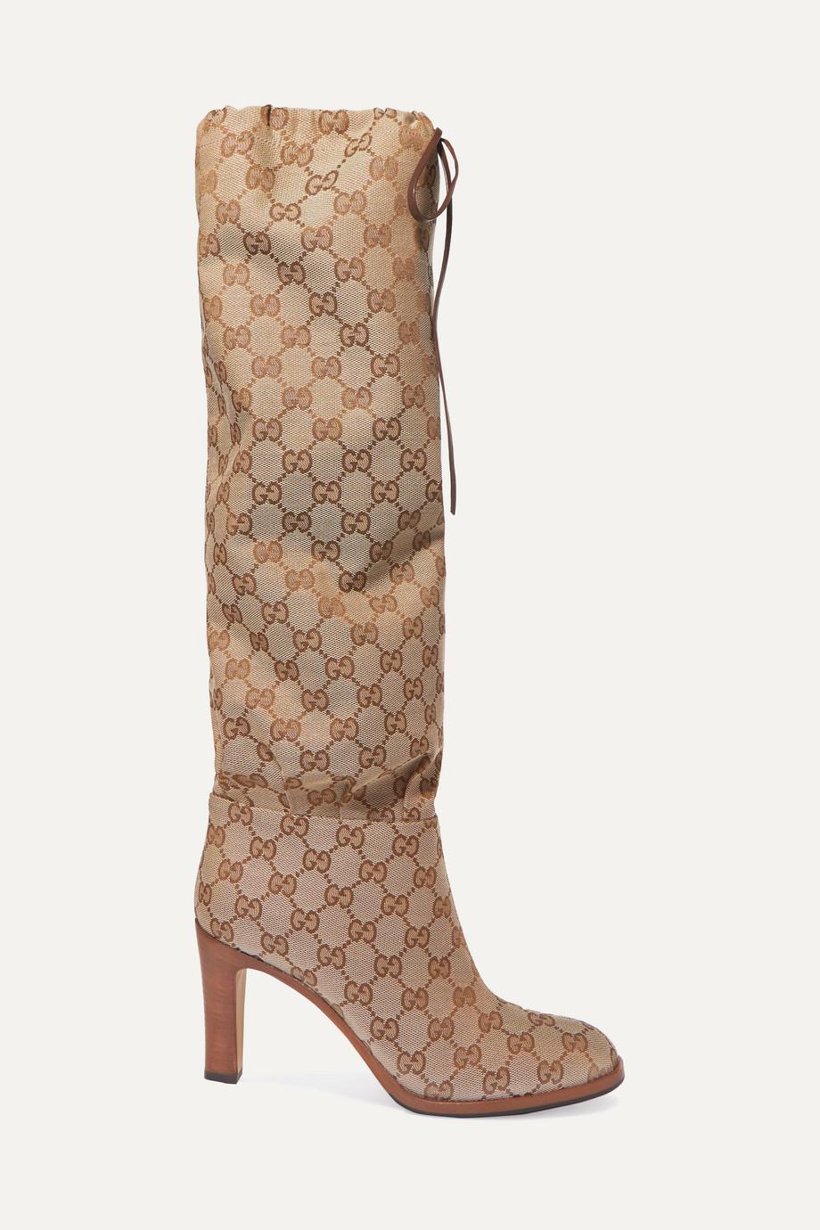 Gucci Kniehohe Stiefel aus beschichtetem Canvas mit Lederbesatz
