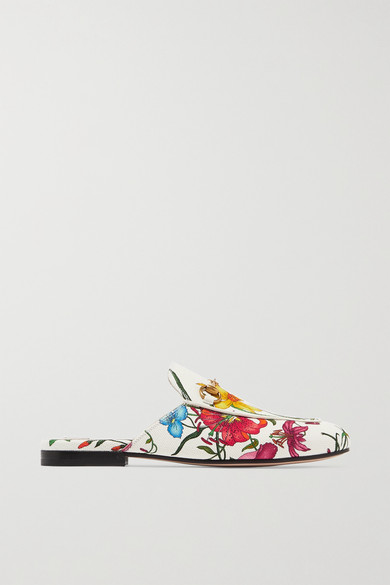Gucci Shoes Princetown horsebit-detailed floral-print canvas slippers