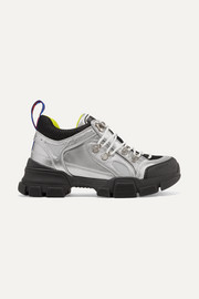 Gucci Flashtrek metallic leather and mesh sneakers