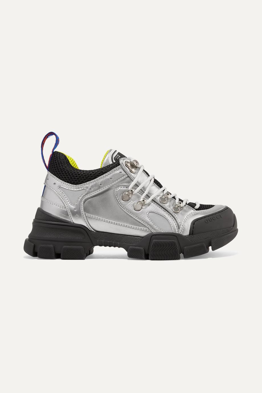 Flashtrek metallic leather and mesh sneakers