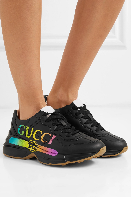 gucci rhyton gucci logo leather sneaker