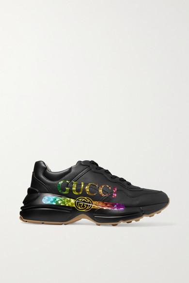Gucci Rhyton Metallic Logo-Print Leather Sneakers In 1000  Black