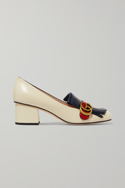 Gucci Marmont fringed logo-embellished leather pumps
