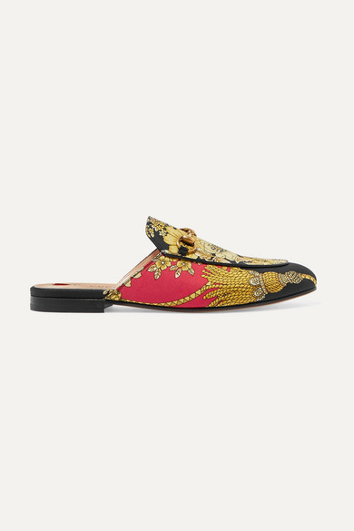 Gucci Shoes Princetown horsebit-detailed printed faille slippers