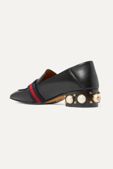 cbef5a351 Gucci. Peyton logo and faux pearl-embellished leather collapsible-heel  pumps. $1,150. Play