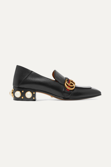 eb5662495 Gucci | Peyton logo and faux pearl-embellished leather collapsible-heel  pumps | NET-A-PORTER.COM