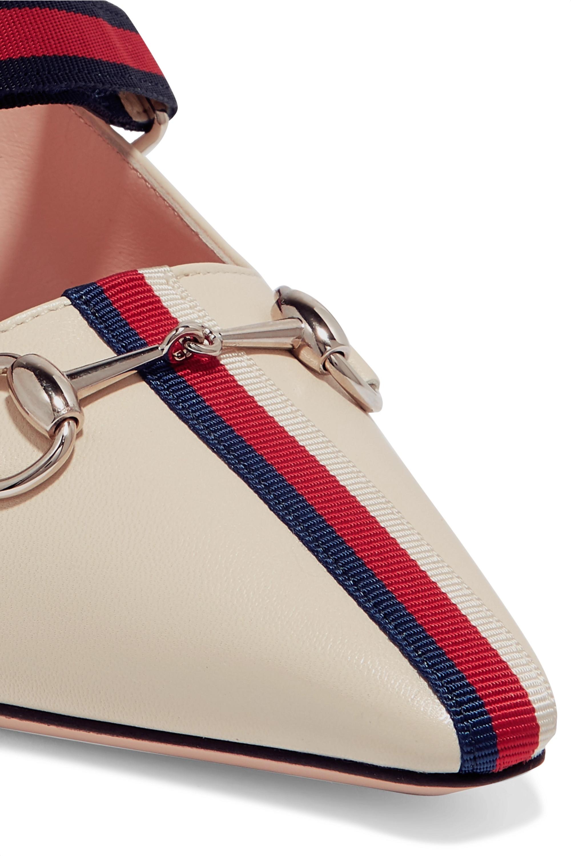 Gucci Horsebit-detailed grosgrain-trimmed leather mules