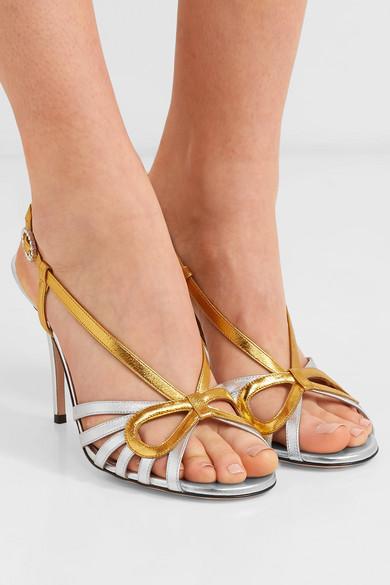7095cf29637 Zephyra crystal-embellished metallic leather sandals