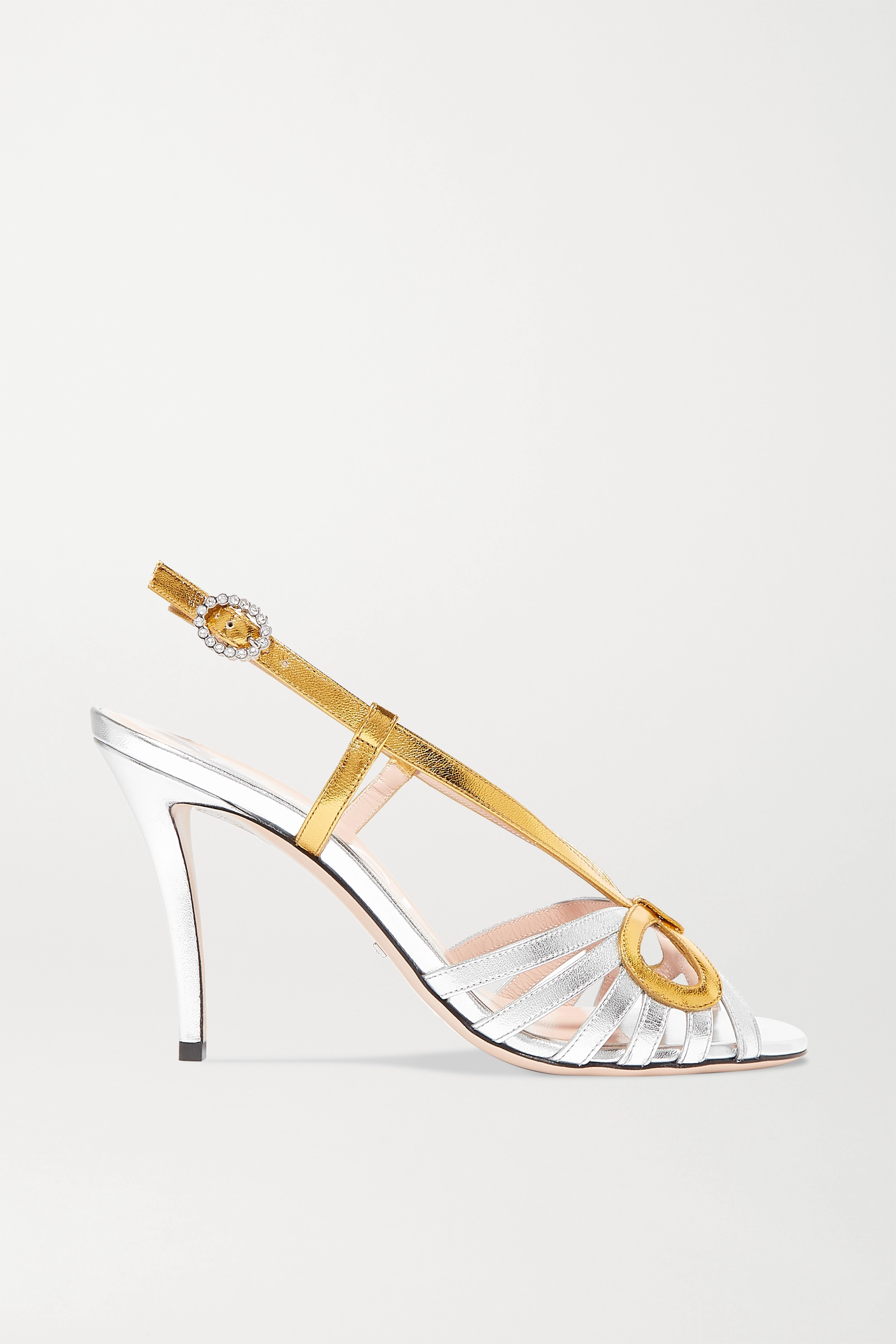 Gucci Crystal-embellished metallic leather sandals