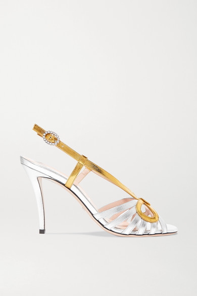 GUCCI | Gucci - Zephyra Crystal-embellished Metallic Leather Sandals - Silver | Goxip