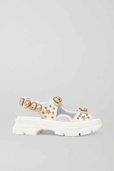 Gucci Aguru Crystal-Embellished Leather And Mesh Sandals In White
