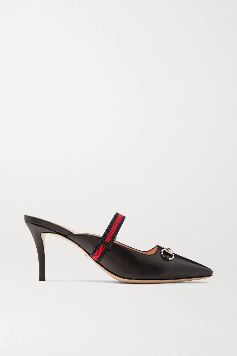 Gucci Horsebit-detailed grosgrain-trimmed leather mules
