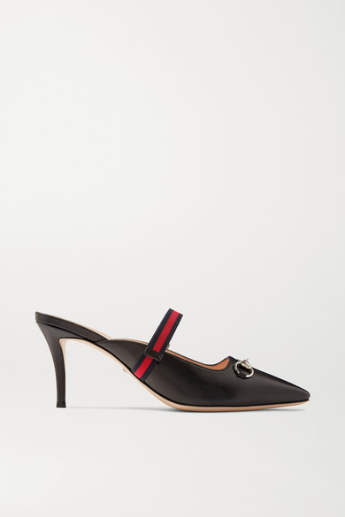 Gucci Mules Horsebit-detailed grosgrain-trimmed leather mules