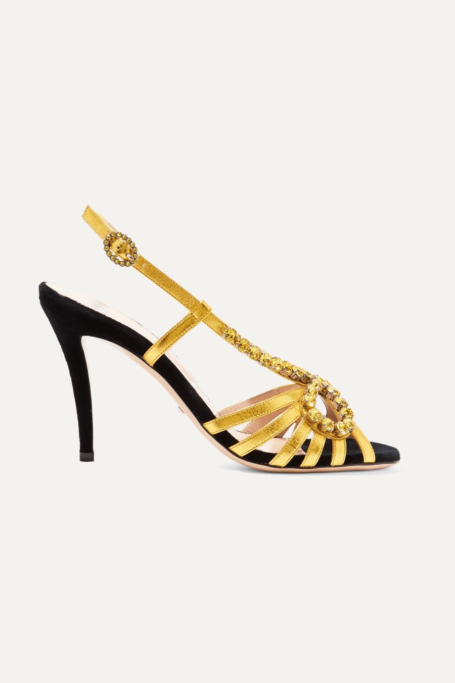 Gucci Crystal-embellished metallic leather sandals