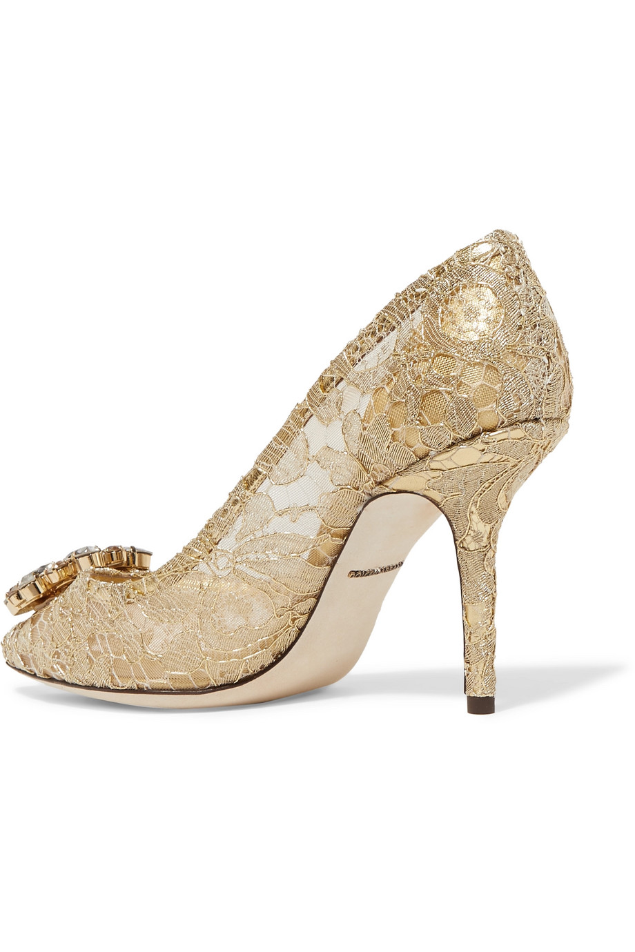 a5063d8811 Dolce & Gabbana Crystal-embellished corded lace pumps