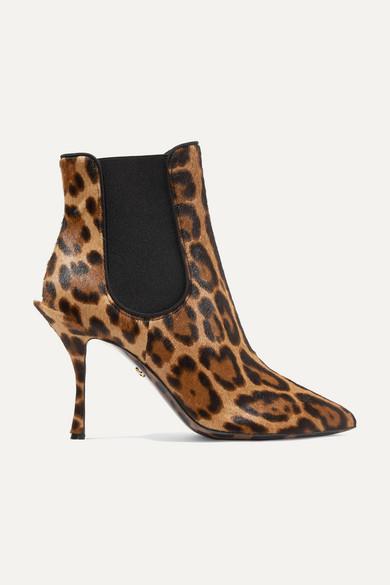 Dolce & Gabbana Lori Leopard Print Pony Hair Booties