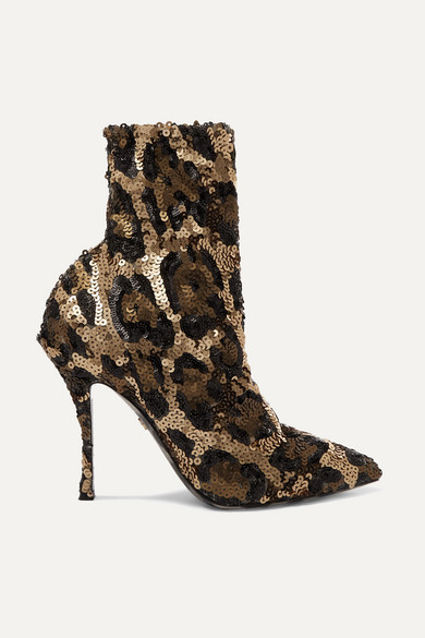 Sequined Leopard-Print Ankle Boots in Leopard Print