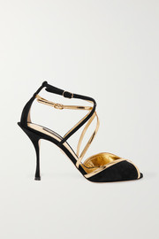 Dolce & Gabbana Metallic leather-trimmed suede sandals