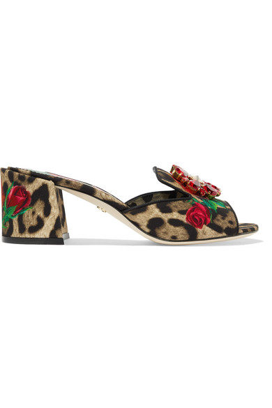 Crystal-Embellished Leopard And Floral-Print Canvas Mules in Leopard Print