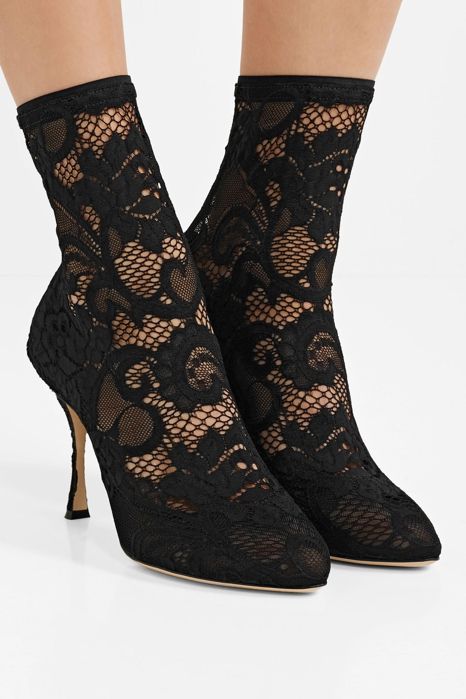 Dolce & Gabbana Bottines en dentelle stretch et en tulle