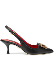 Dolce & Gabbana Logo-embellished leather slingback pumps