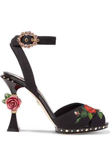 Dolce And Gabbana Crystals Embellished floral-print charmeuse sandals