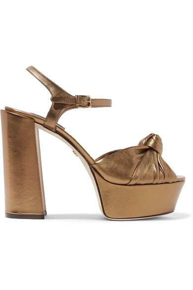 Knotted Metallic Leather Platform Sandals in Gold